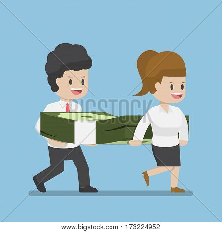 Business People Carrying Pile Of Dollars Money