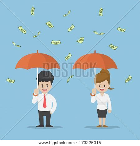 Business People Holding Umbrella And Standing Under The Rain Of Money