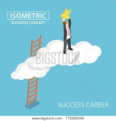 Isometric Businessman Climbing Up Over The Cloud And Reaching Hands To The Star