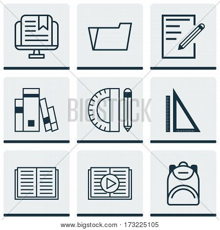 Set Of 9 School Icons. Includes Document Case, Library, Opened Book And Other Symbols. Beautiful Design Elements.