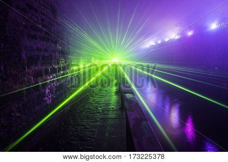 Laser beams in the dark illuminated  Falkirk Tunnel