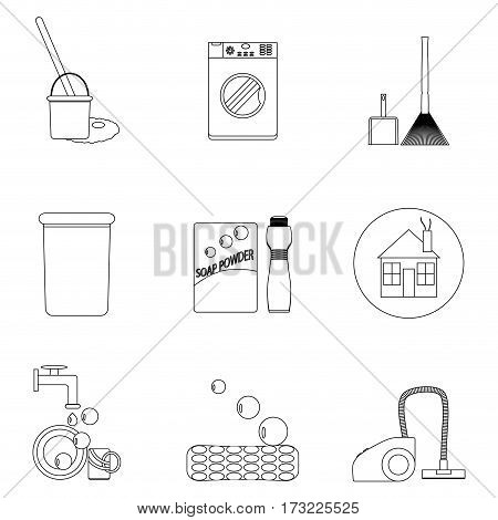 Laundry and cleaning house icon set line. Vacuum and hygiene sanitation clean. Vector illustration