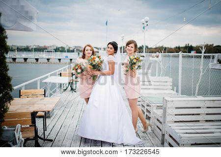 Bride With Bridesmaids Posed On The Pier Berth At Cloudy Wedding Day.