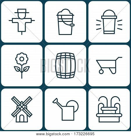 Set Of 9 Plant Icons. Includes Hang Lamp, Bucket, Cask And Other Symbols. Beautiful Design Elements.