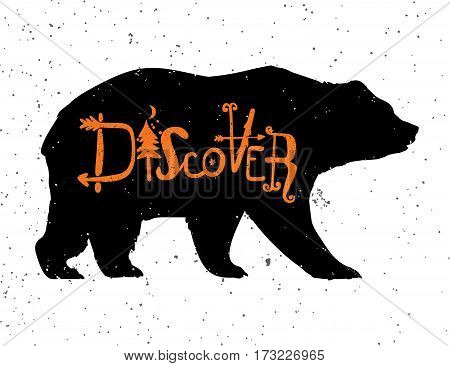 Vintage style bear with slogan. Discover. Tattoo, travel, adventure, wildlife symbol. The great outdoors. Isolated vector illustration