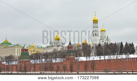 MOSCOW - February 24, 2017 View from the Sofia quay at Archangel and Annunciation Cathedral. Moscow Kremlin . Beautiful scenery on the background of the cloudy sky.