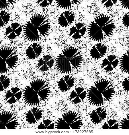 Black jagged irregular flowers on endless background