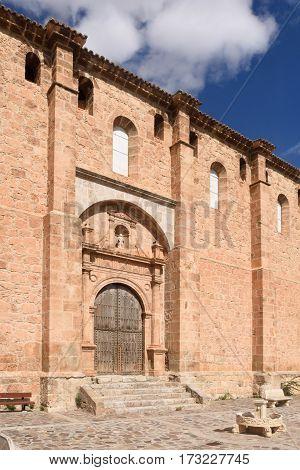 Facade of Church of Fuentes de Giloca Zaragoza province Aragon Spain