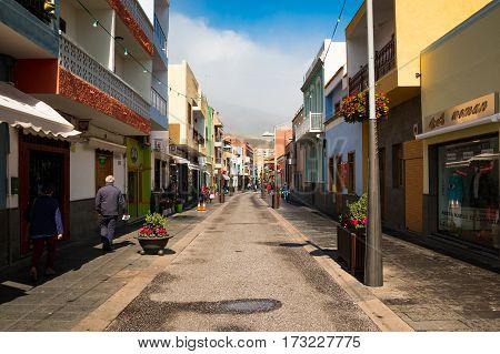 TENERIFE SPAIN - 12.02.2017: Summer Street of Old Town view of Candelaria in Tenerife Spain.