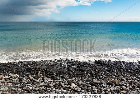 Playa la Arena black volcanic sand beach Tenerife Canary islands Spain