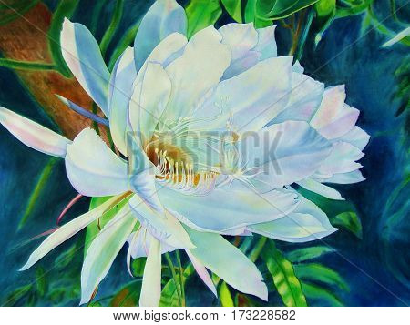 Watercolor original realistic painting flowers bloom at night of peony flower and green leaves in abstract background.