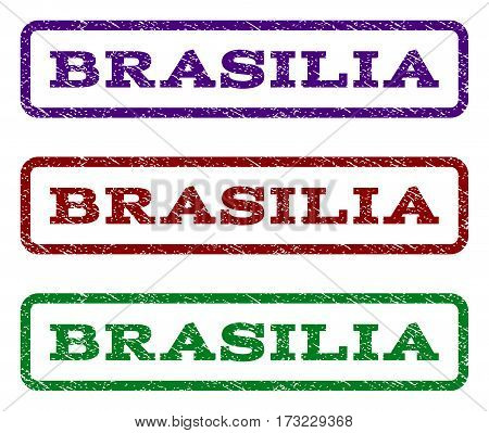 Brasilia watermark stamp. Text tag inside rounded rectangle frame with grunge design style. Vector variants are indigo blue red green ink colors. Rubber seal stamp with unclean texture.