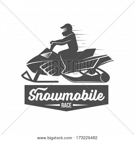 Snowmobile badge logo icon and design elements. Winter sports. Retro logotype design.