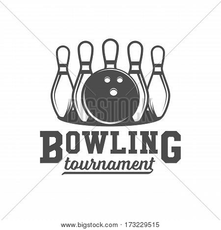 Bowling vector logotype, emblem and badge. Club gaming play, skittle and strike illustration. Template for bowling club, tournament, champion, challenge.