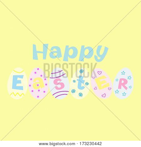 Happy Easter greeting card on the yellow background