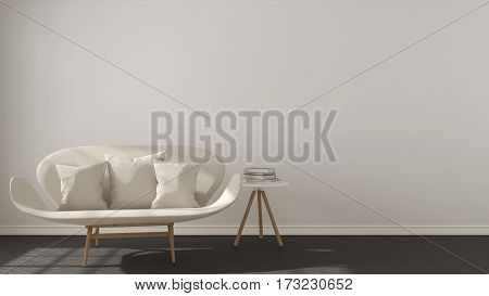 Scandinavian Minimalistic Background, With White Sofa On Herringbone Natural Parquet Flooring, Inter