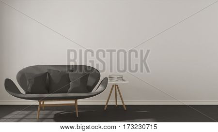 Scandinavian Minimalistic Background, With Gray Sofa On Herringbone Natural Parquet Flooring, Interi