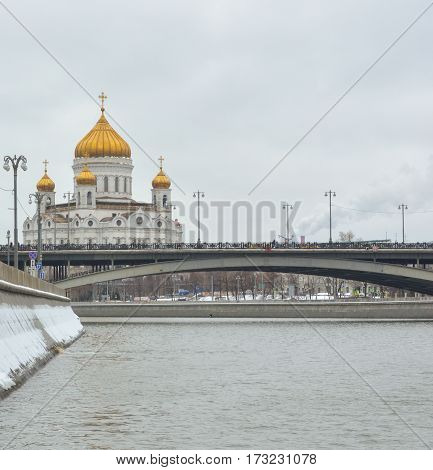 MOSCOW - February 24, 2017 View from the Sofia quay at Cathedral of Christ the Saviour. Beautiful scenery on the background of the cloudy sky.