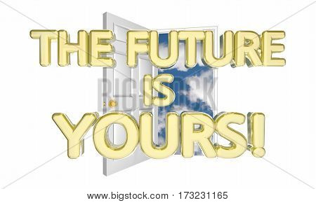 The Future is Yours Unlock Tomorrow Success Possibility 3d Illustration
