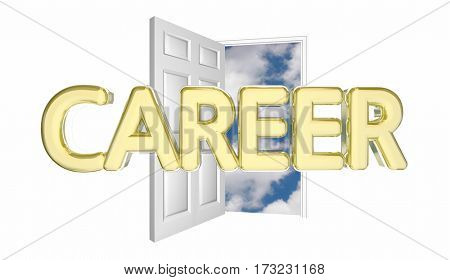 Career New Job Promotion Success Door Opening 3d Illustration