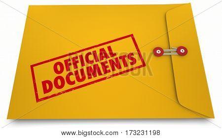 Official Documents Paperwork Envelope Information 3d Illustration