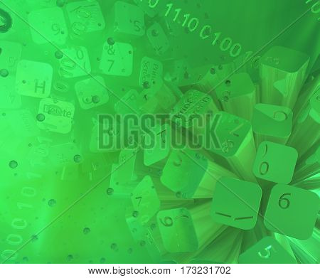Virtual digits abstract 3d illustration green keyboard button spheres horizontal background