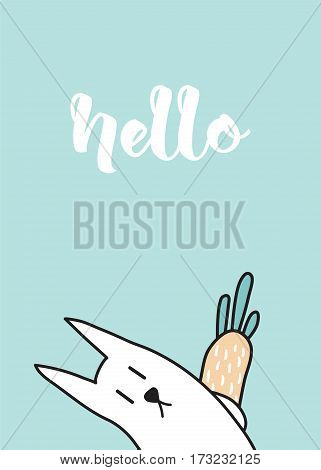 vector template of a cute greeting card with a rabbit hiding a carrot