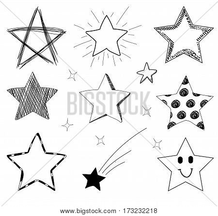 VECTOR set of hand drawn stars isolated on white