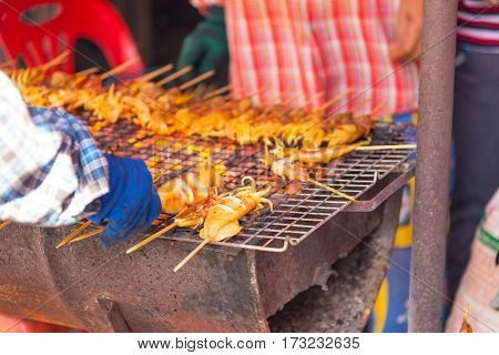 Grilled Squid in the market, waiting foe sale.