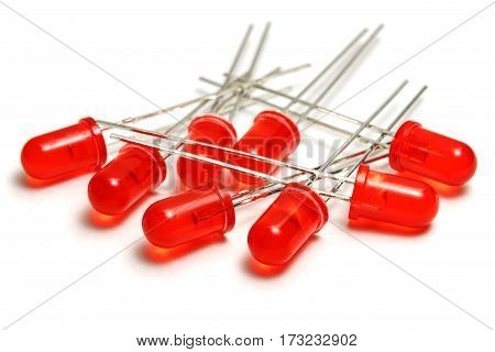 Red LED diodes on a white background