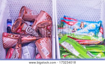 ice-cream in Freezer in bangkok thailand on February 122017