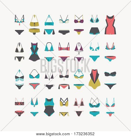 Vector beautiful women swimwear - bikini swimsuit one-piece swimsuit waist and swimming trunks collection hand drawn in geometric style. Flat illustration set for fashion sport and recreation.
