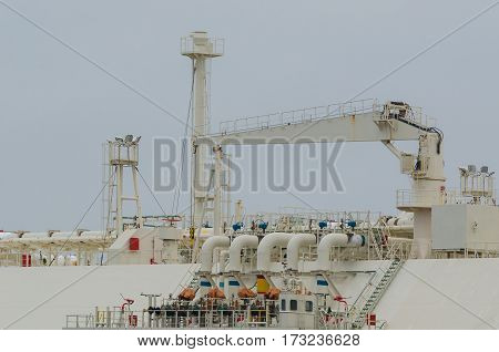 LNG TANKER - Gas valves and other elements of the deck