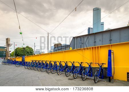 Melbourne Australia - December 27 2016: Bike share station located at Queensbridge Square in CBD. People can hire bikes and explore the city