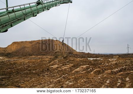 Walking excavator type dragline  in a clay quarry near the town of Pology of Zaporizhzhya region of Ukraine. Following heavy rains. March 2006