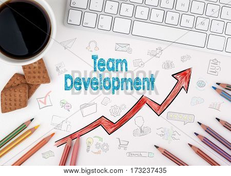 Team Development, Business Concept. White office desk.
