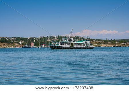 The ship in the Bay of Sevastopol near the Grafskaya Wharf. Crimea (Ukraine). May 2006