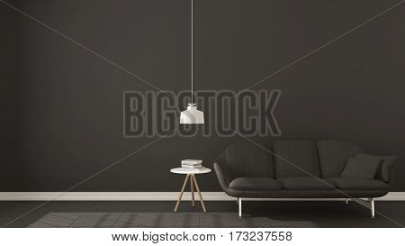 Scandinavian Minimalistic Dark Background, With Gray Sofa On Herringbone Natural Parquet Flooring, I