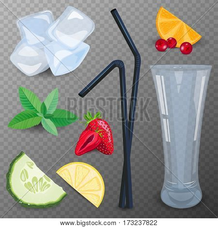 Refreshing drink ingredients with cucumber, strawberry, cranberry and mint vector illustration.