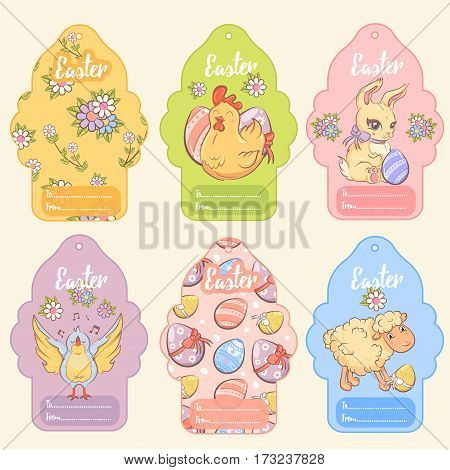 Greeting Easter tags set with cute animals colored eggs and chamomiles in cartoon style isolated vector illustraton