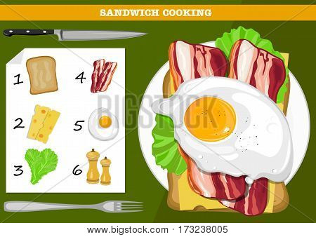 Sandwich cooking infographic illustration. Sandwich wiht omelet, bacon, cheese vector illustration.