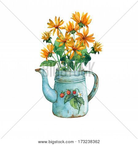 Vintage blue metal teapot with strawberries pattern and bouquet of yellow flowers. Hand drawn watercolor painting on white background.