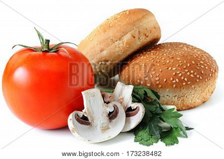 set for hamburger on white background isolate