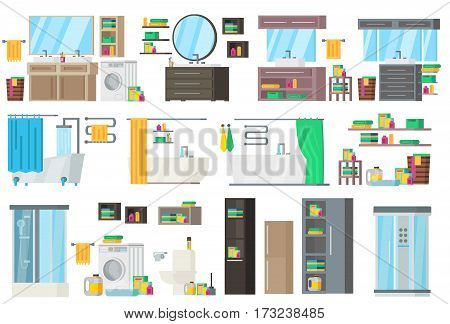 Bathroom equipment collection with accessories tools and different variants of interior design isolated vector illustration