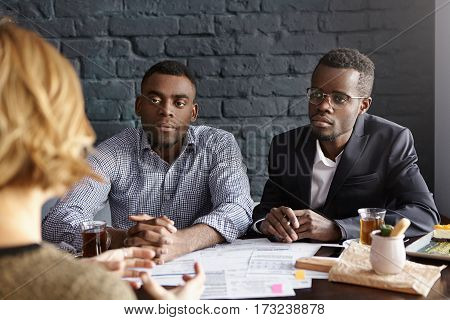 Tell Us Something About Yourself. Two African-american Recruiting Managers Dressed Formally Having J