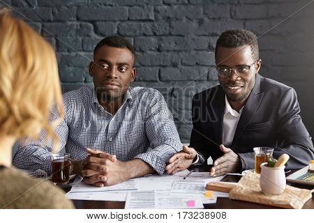 Recruitment And Human Resources Concept. Two Confident And Stylish African-american Hr Experts Condu