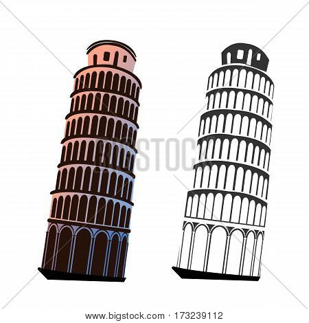 Leaning Tower Of Pisa on isolated white Vector illustration