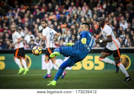 VALENCIA, SPAIN - FEBRUARY 19: during La Liga soccer match between Valencia CF and CD Athletic Club Bilbao at Mestalla Stadium on February 19, 2017 in Valencia, Spain