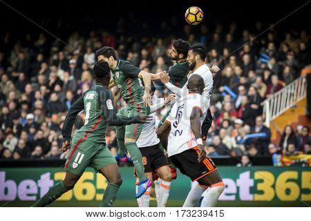 VALENCIA, SPAIN - FEBRUARY 19: Various players during La Liga soccer match between Valencia CF and CD Athletic Club Bilbao at Mestalla Stadium on February 19, 2017 in Valencia, Spain