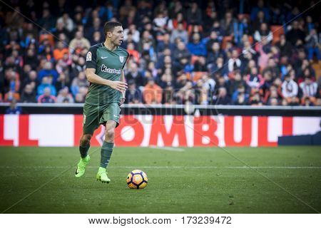 VALENCIA, SPAIN - FEBRUARY 19: Oscar de Marcos with ball during La Liga soccer match between Valencia CF and CD Athletic Club Bilbao at Mestalla Stadium on February 19, 2017 in Valencia, Spain
